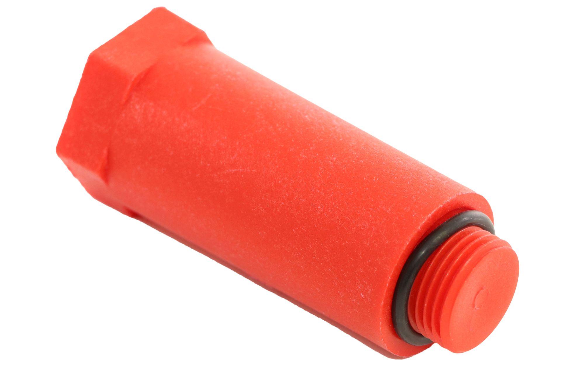 "Simplex Sanitär Baustopfen 1/2"",  mit Dichtung, Kunststoff, rot"