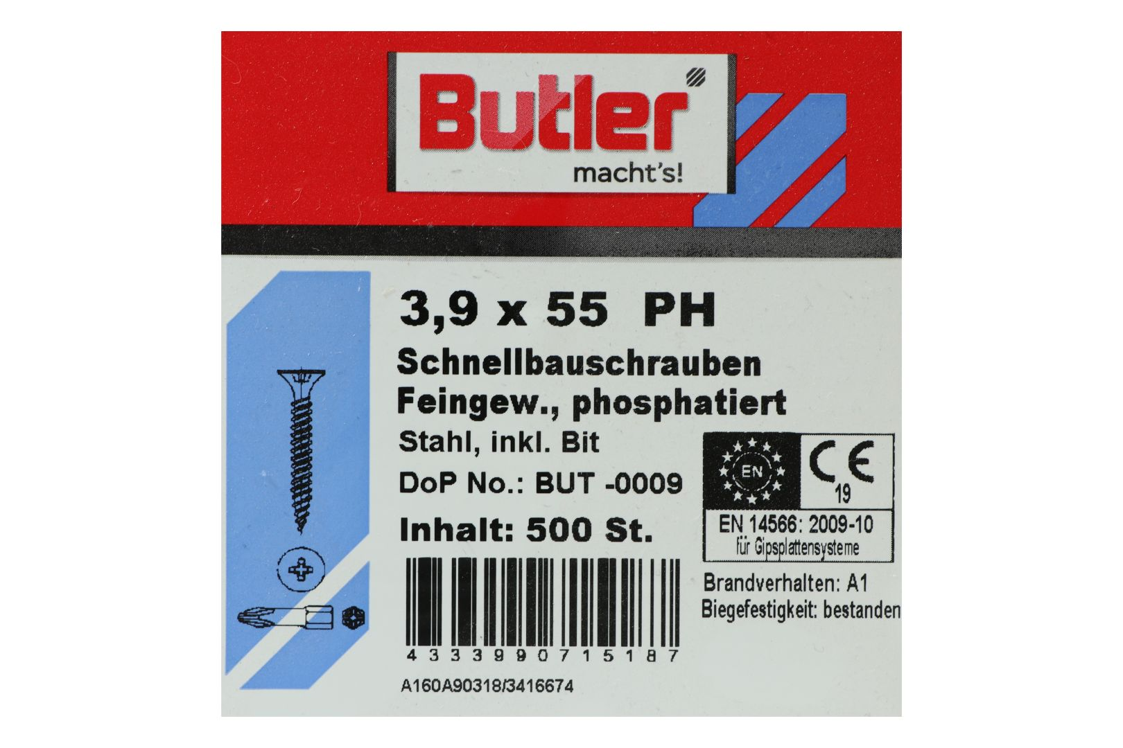 Butler macht's! Schnellbauschrauben inkl. Bit für Gipsplatten auf Metall bis 0,6 mm, Feingewinde, PH2, 3,9 x 55 mm, 500 Stück