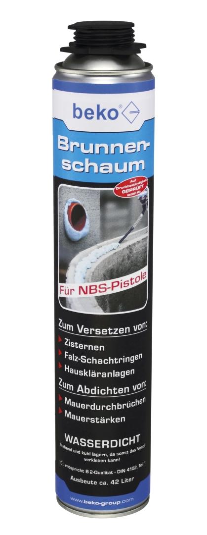 beko 1-Komponenten Polyurethan-Brunnenschaum für NBS-Pistole, B2-Qualität, Ausbeute ca. 42 l, 750 ml
