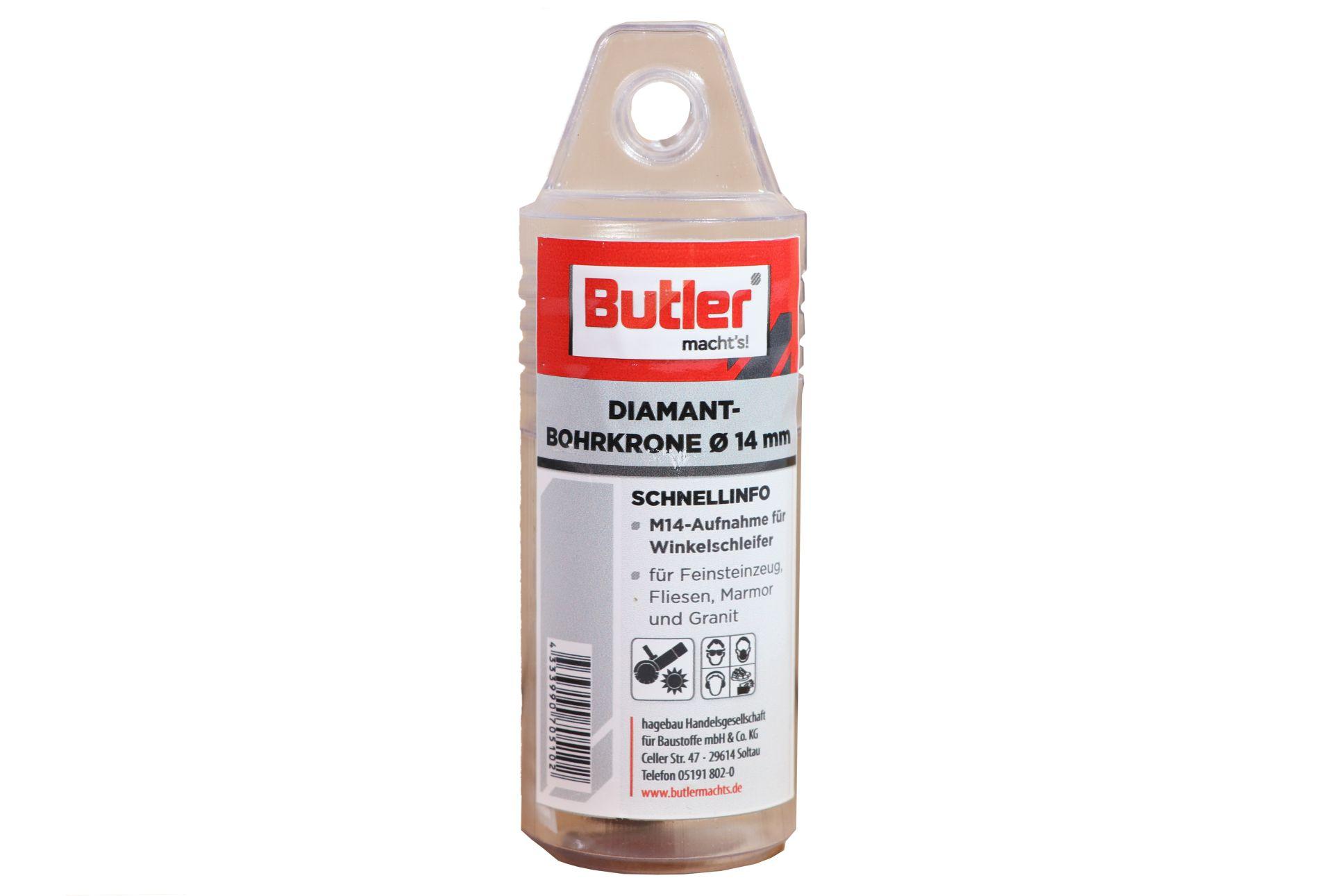 Butler macht's! Diamant-Bohrkrone, Ø 14 mm, Aufnahme M14, Bohrtiefe 35 mm