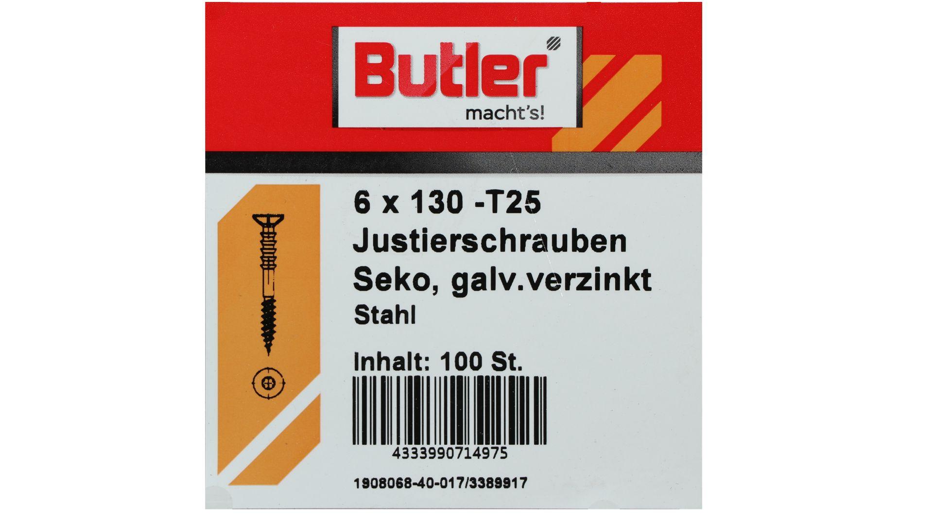 Butler macht's! Justierschraube, Stahl, Senkkopf, galvanisch verzinkt, T25, 6 x 130 mm, 100 Stück