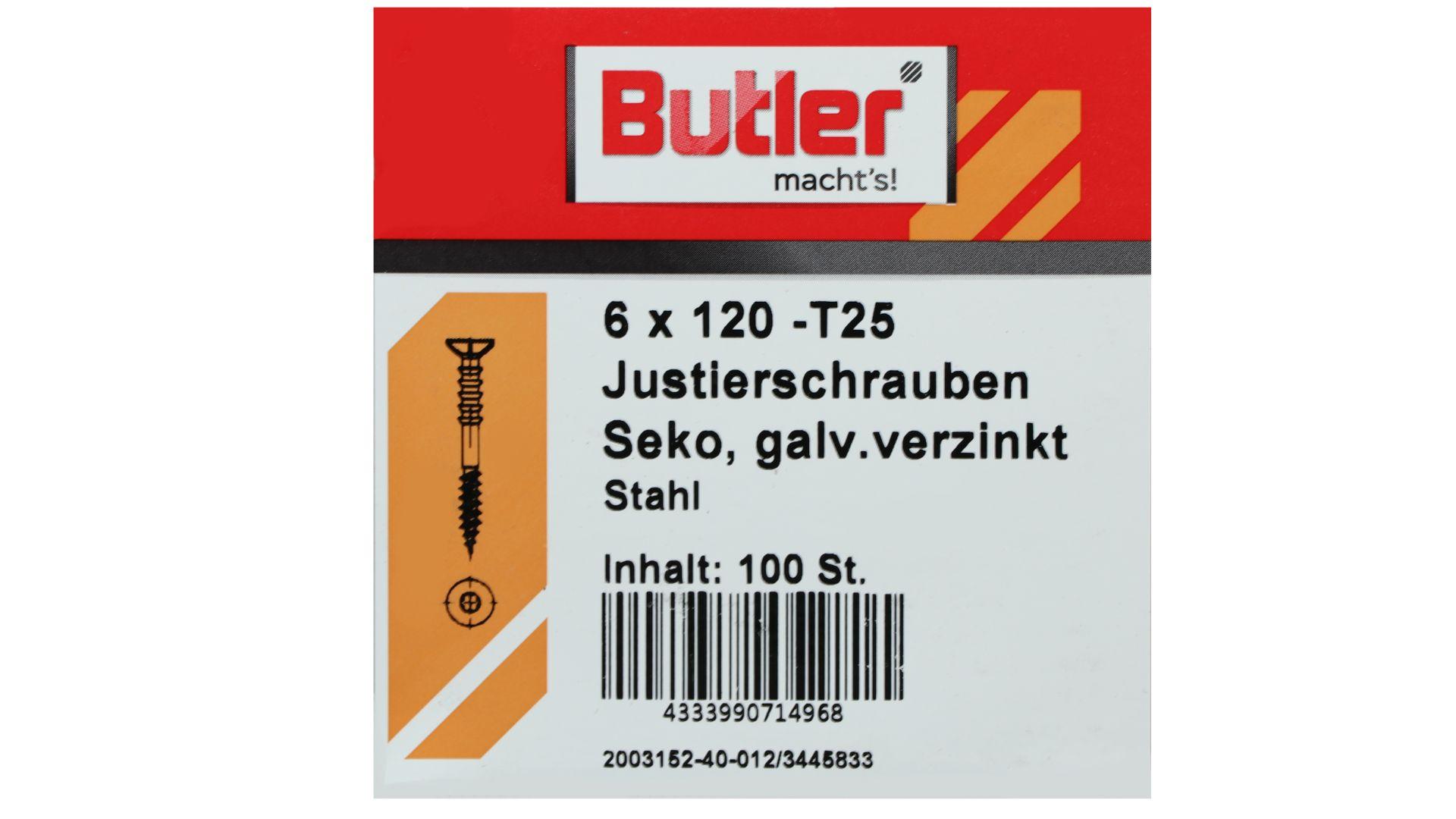 Butler macht's! Justierschraube, Stahl, Senkkopf, galvanisch verzinkt, T25, 6 x 120 mm, 100 Stück