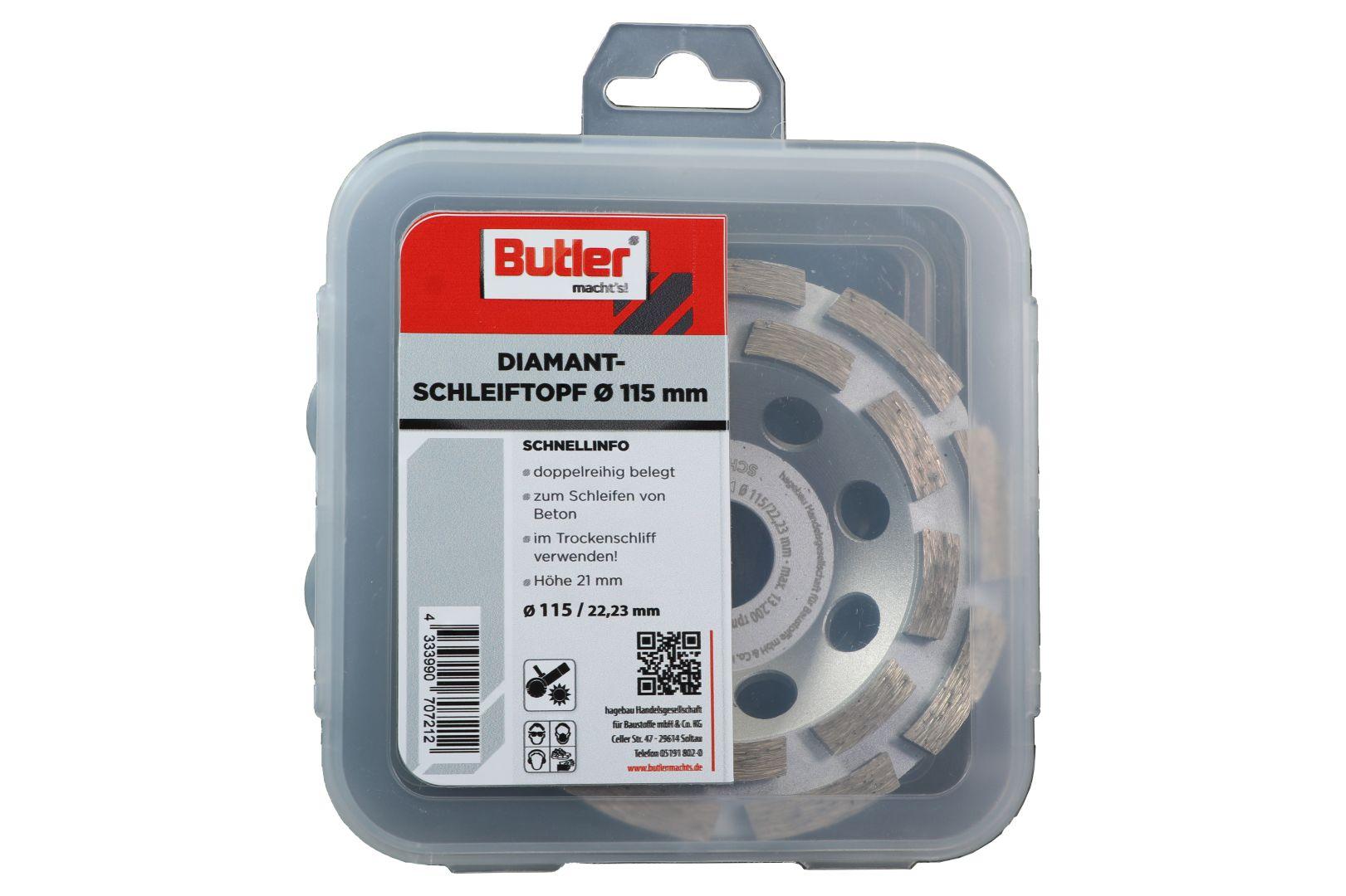 Butler macht's! Diamant-Schleiftopf, Schneidrand doppelt, Ø 115 mm