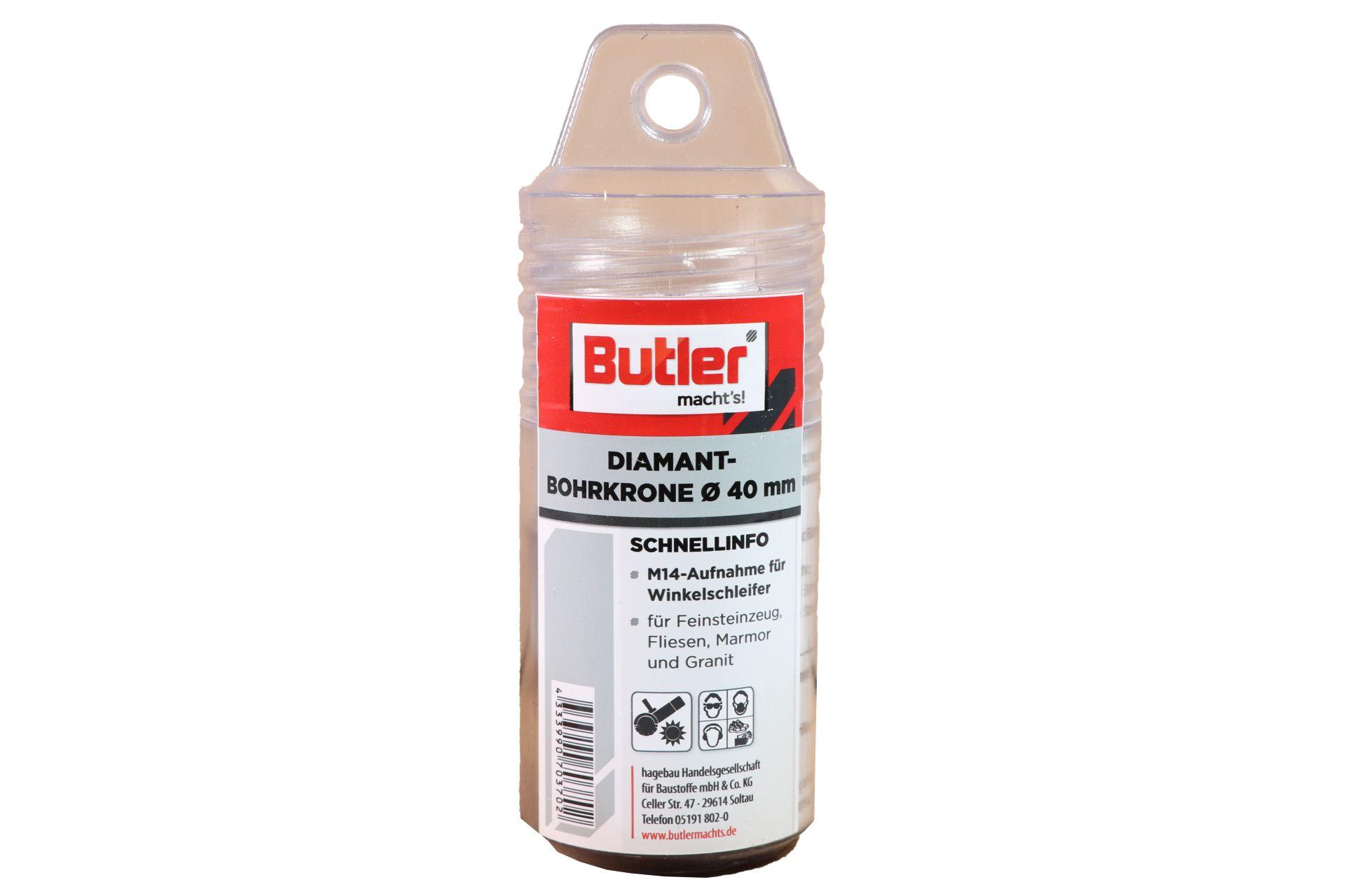 Butler macht's! Diamant-Bohrkrone, Ø 40 mm, Aufnahme M14, Bohrtiefe 45 mm