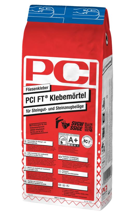 PCI FT Klebemörtel, Fliesenkleber für Steingut und Steinzeugbeläge, grau, 5 kg
