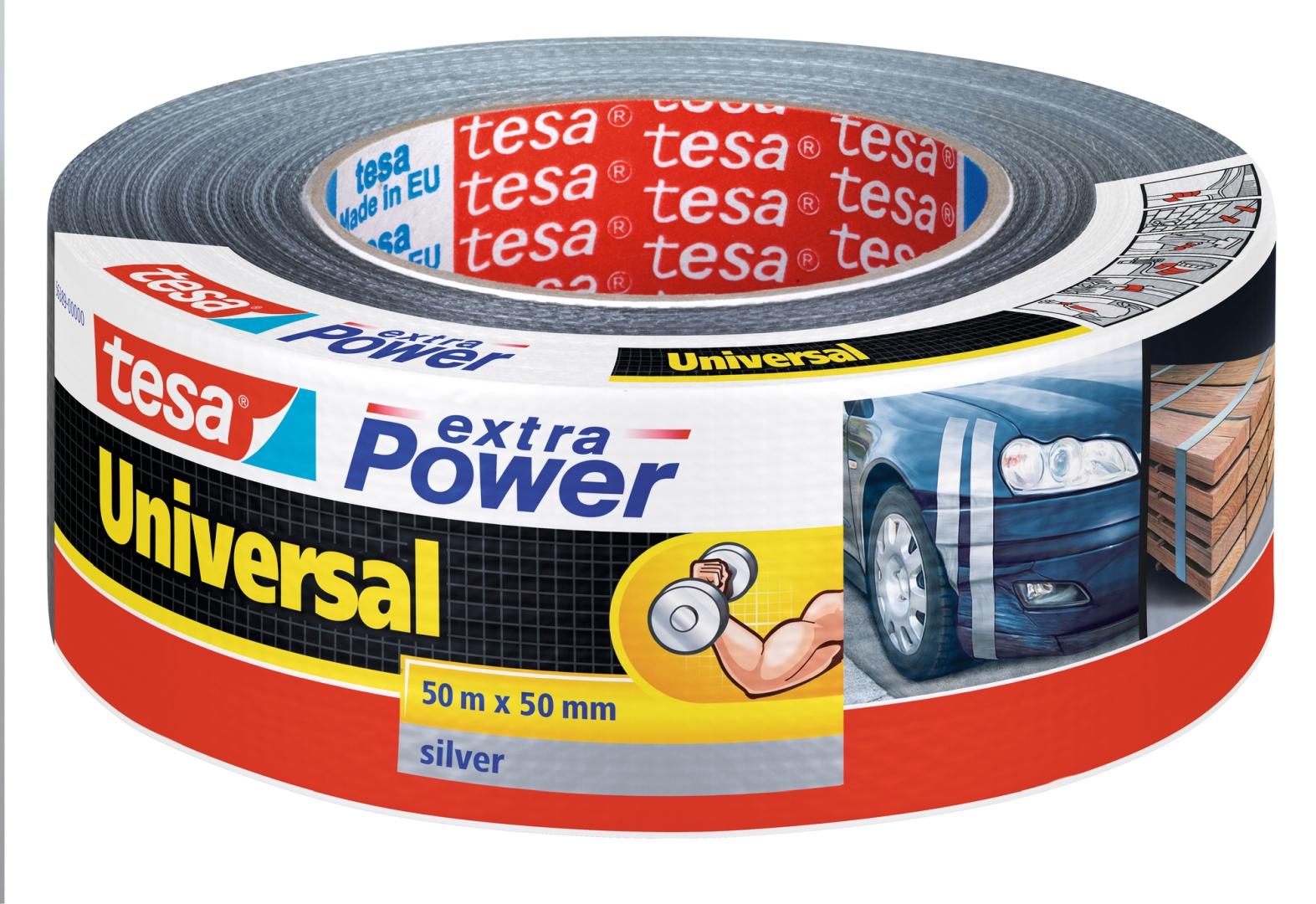 tesa extra Power universal, silber, von Hand einreißbar, hohe Wetterfestigkeit, 50 m x 50 mm