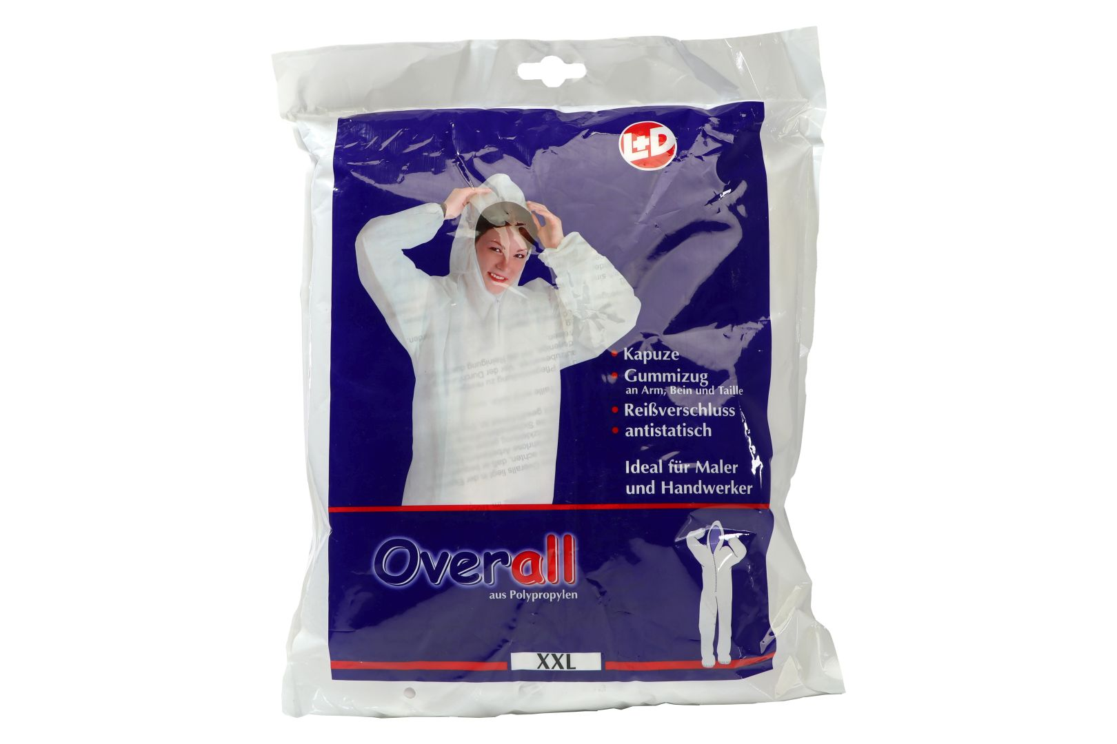 L+D Overall aus Polypropylen, Gummizug an Arm, Bein und Taille, Gr. XXL