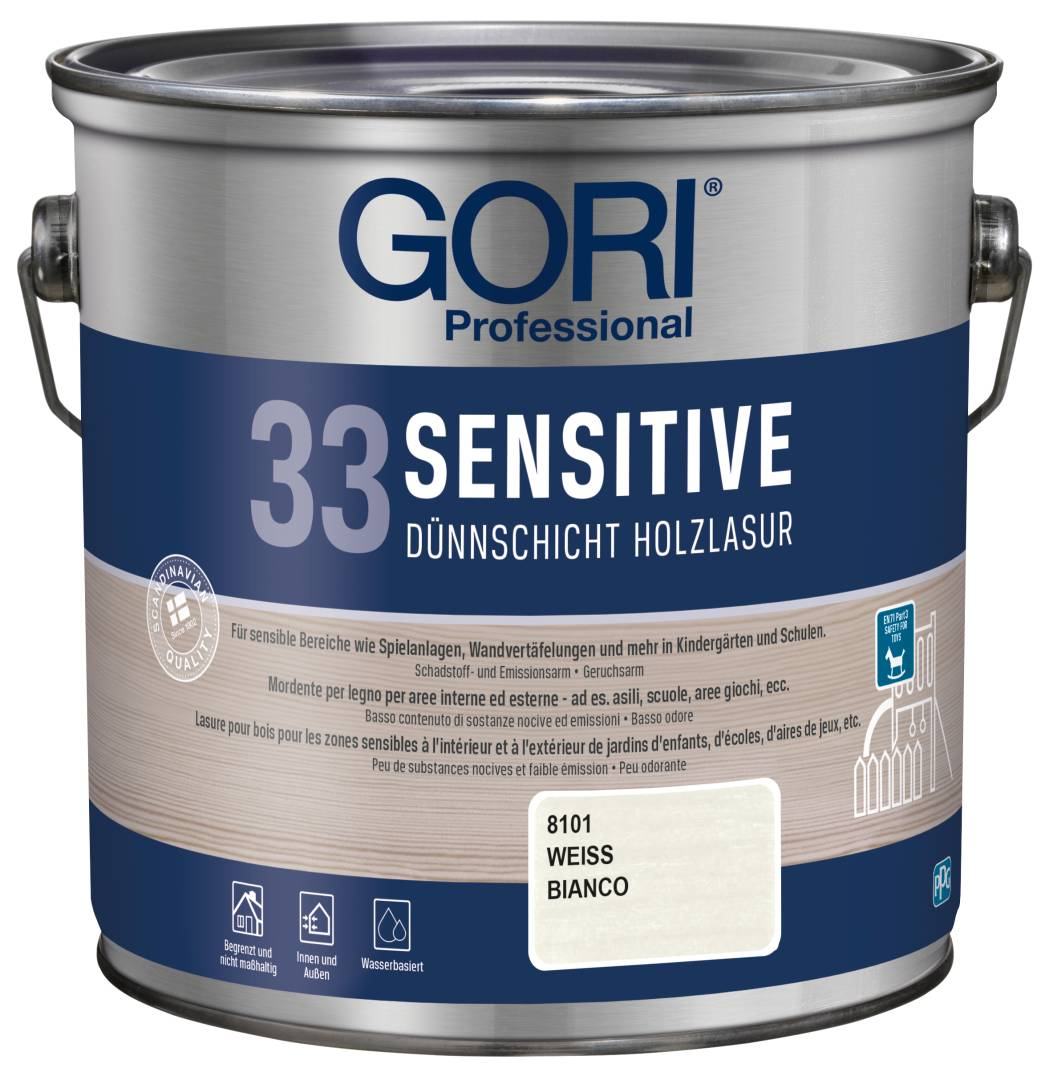 GORI Professional 33 SENSITIVE, Dünnschicht-Holzlasur, weiß, 2,5 l