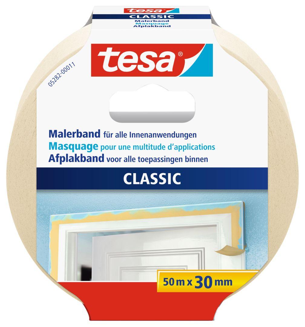 tesa CLASSIC Malerband, Kreppband, Klebeband, beige, lösungsmittelfrei, 50 m x 30 mm