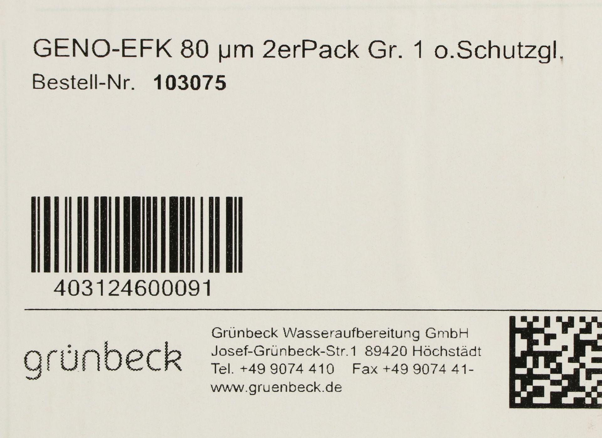 grünbeck GENO-Ersatzfilterkerzen, 80 µm, Größe 1, ohne Schutzglocke, für grünbeck-Wasserfilter, 2-er Pack