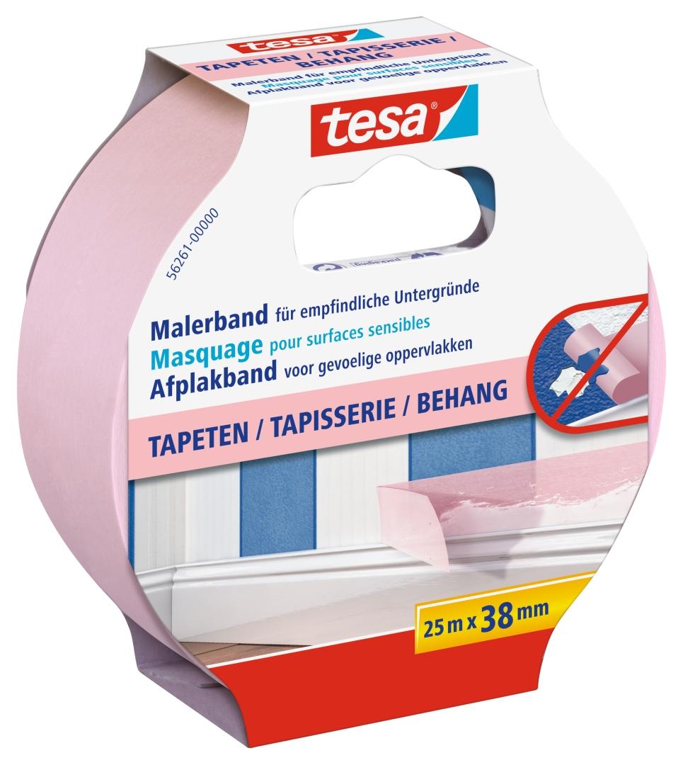 tesa Malerband, Fixier- und Abdeckband, Kreppband, Papierabdeckband für Tapeten, 25 m x 38 mm