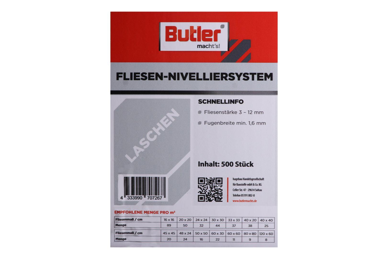 Butler macht's! Fliesen-Nivelliersystem Laschen, für 1,6 mm Fugenbreite, 500 Stück