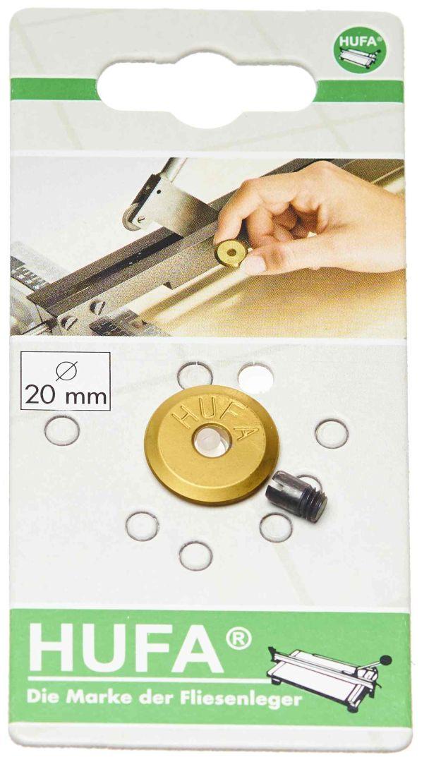HUFA Schneidrädchen aus Hartmetall mit Titan-Nitrid-Beschichtung, mit Achse, Ø 20 mm, Stärke 3 mm, Bohrung 5 mm