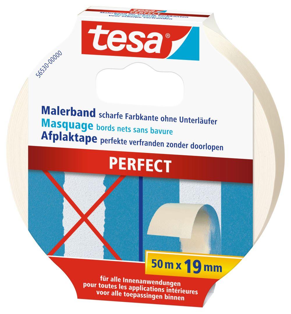 tesa PERFECT Malerkrepp, für scharfe Farbkanten, lösungsmittelfei, sehr reißfest, 50 m x 19 mm