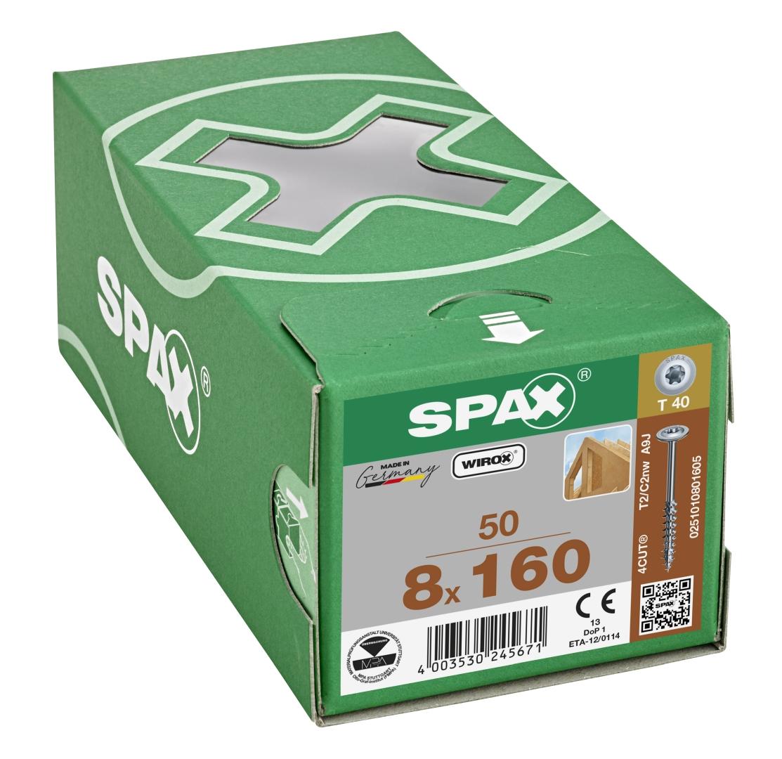 SPAX HI.FORCE, Holzbauschraube, Teilgewinde, Tellerkopf, T-STAR plus T40, 4CUT, WIROX, 8 x 160 mm, 50 Stück