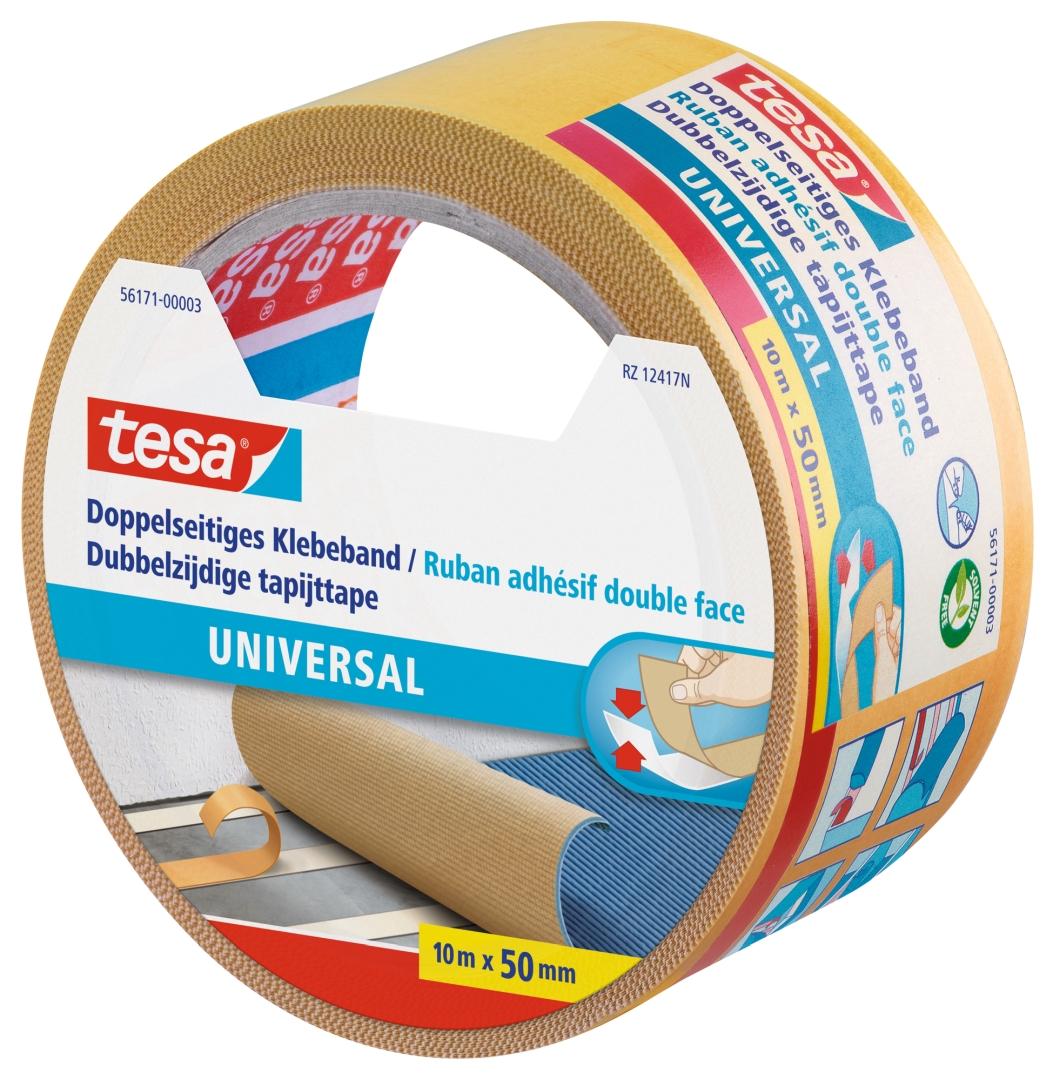 tesa universal, doppelseitiges Klebeband, von Hand einreißbar, 10 m x 50 mm