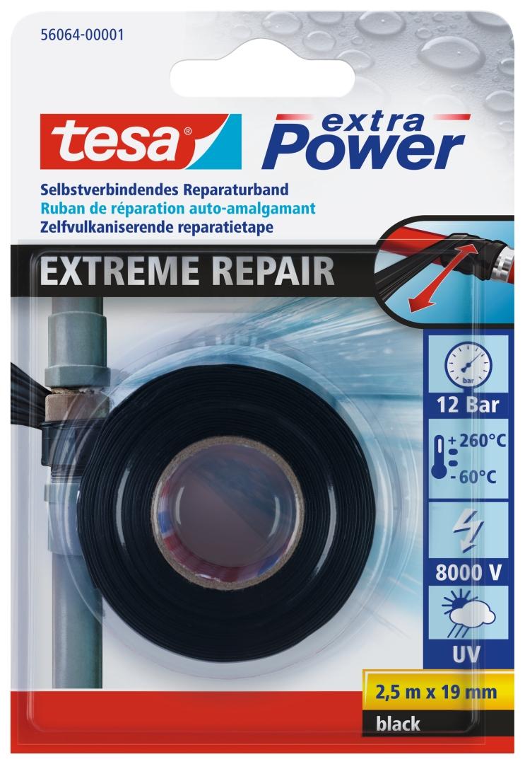 tesa Extreme Repair, wasserdicht, schwarz, 2,5 m x 19 mm