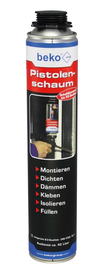 beko 1-Komponenten Polyurethan-Pistolenschaum für NBS-Pistole, B2-Qualität, Ausbeute ca. 42 l, 750 ml Dose