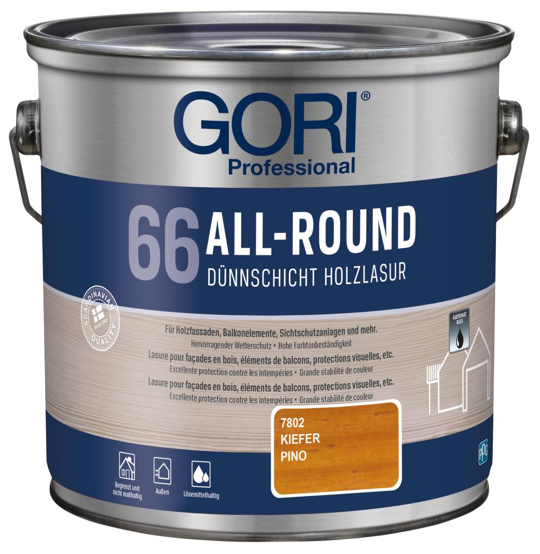 GORI Professional 66 ALL-ROUND, Dünnschicht-Holzlasur, kiefer, 2,5 l
