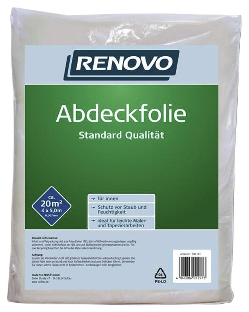 RENOVO Abdeckfolie, aus Kunststoff, Abdeckfläche: 20 m², 5 x 4 m x 7 µm
