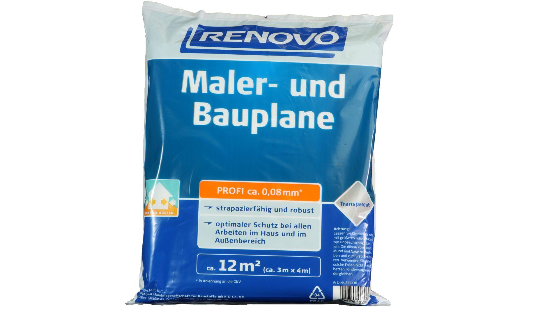 RENOVO Maler- und Bauplane Profi, transparent, 4 x 3 m x 80 µm