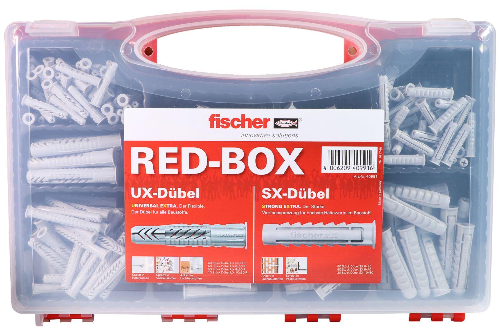 fischer RED-BOX Universaldübel-Set, UX/SX-Set, 290-teilig