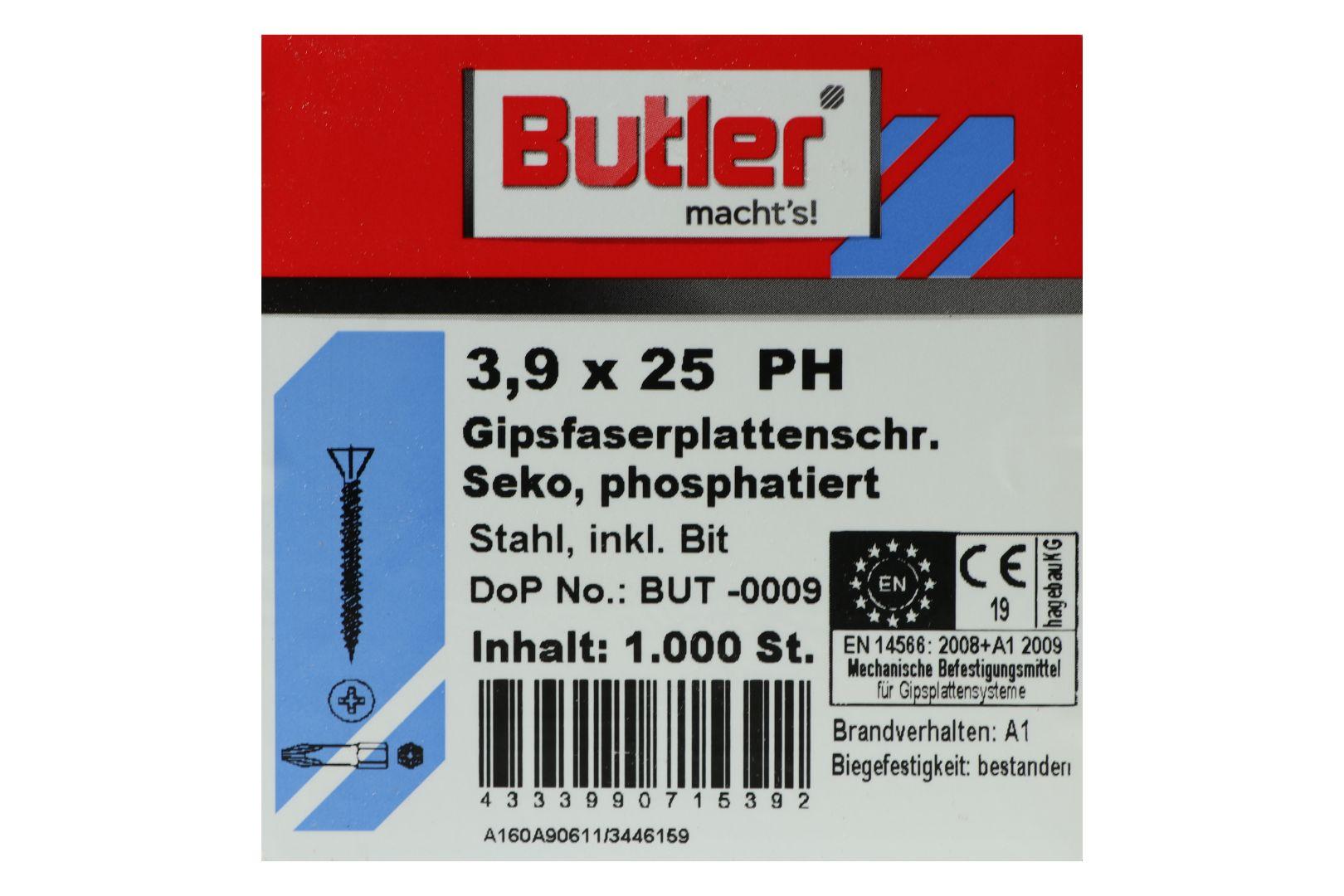 Butler macht's! Schnellbauschrauben inkl. Bit für Faserplatten auf Holz und Metall bis 0,6 mm, HiLo-Gewinde, PH2, 3,9 x 25 mm, 1.000 Stück