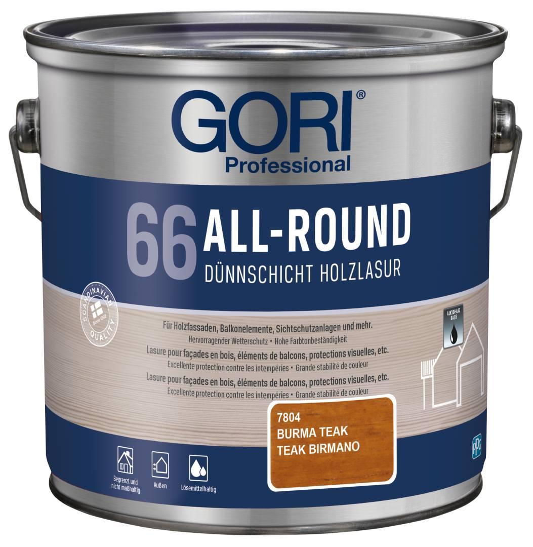 GORI Professional 66 ALL-ROUND, Dünnschicht-Holzlasur, burma teak, 2,5 l