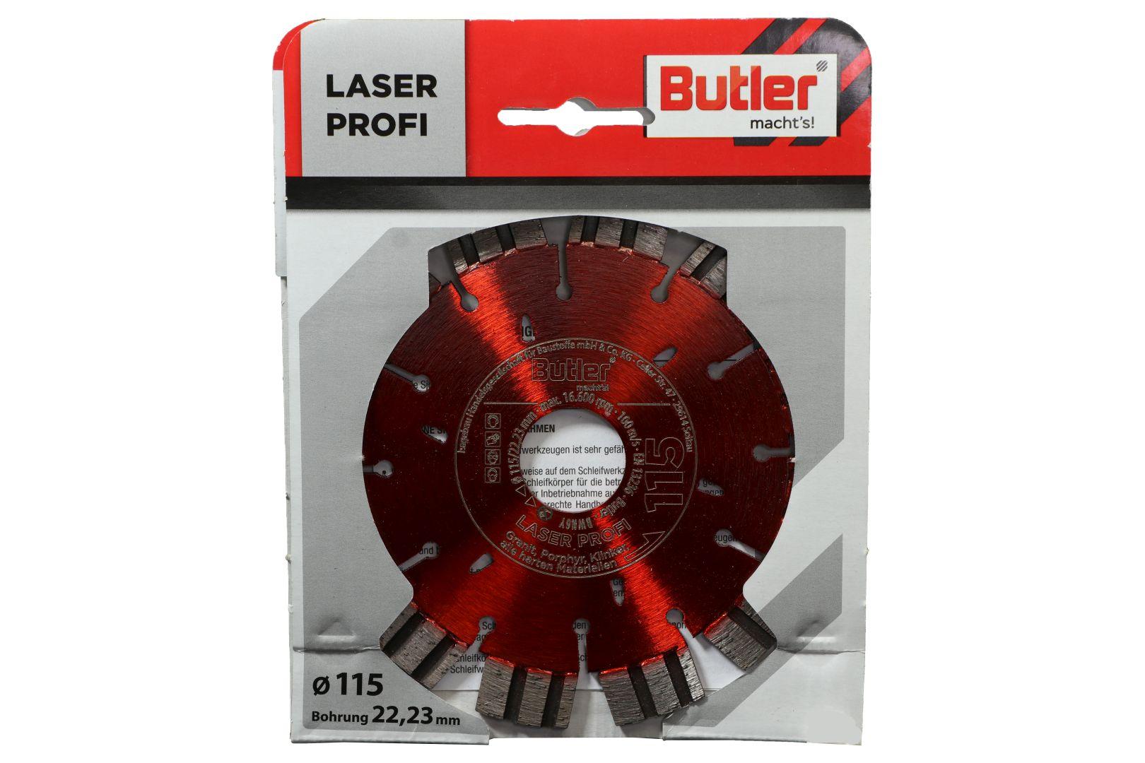Butler macht's! Diamant-Trennscheibe Laser Profi, Bohrung: 22,23 mm, Ø 115 mm