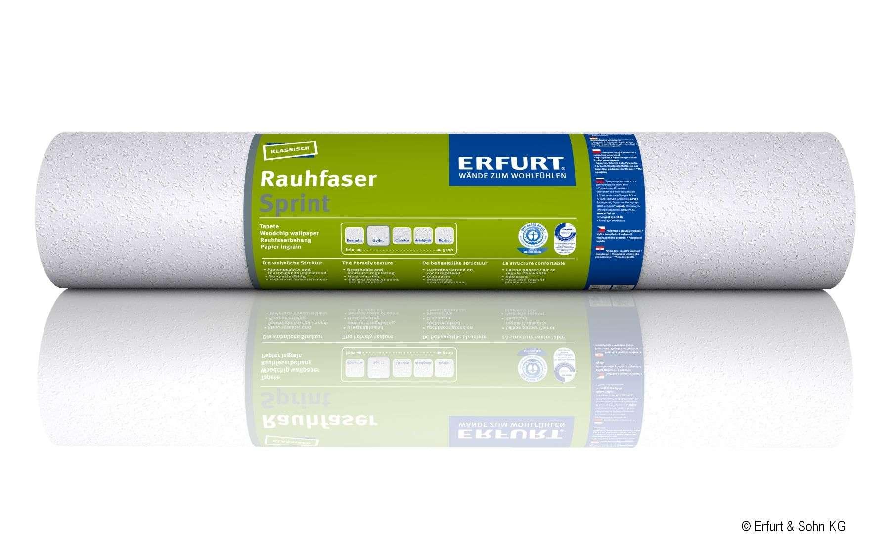"""ERFURT """"Das Original"""" Rauhfaser Tapete Sprint, wohnliche Struktur, 20 x 0,53 m, ausreichend für 10,6 m², 1 Rolle"""