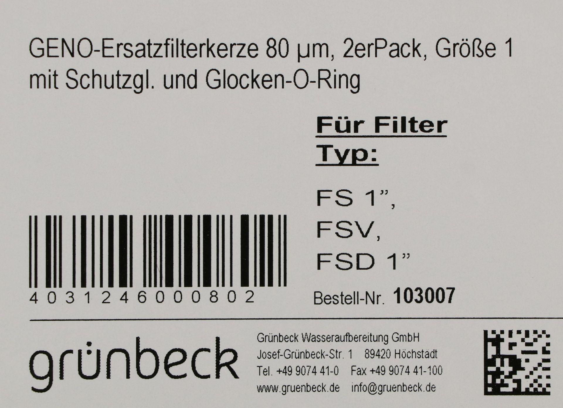 grünbeck GENO-Ersatzfilterkerze, 80 µm, Größe 1, mit Schutzglocke und O-Ring, für grünbeck-Wasserfilter, 2-er Pack
