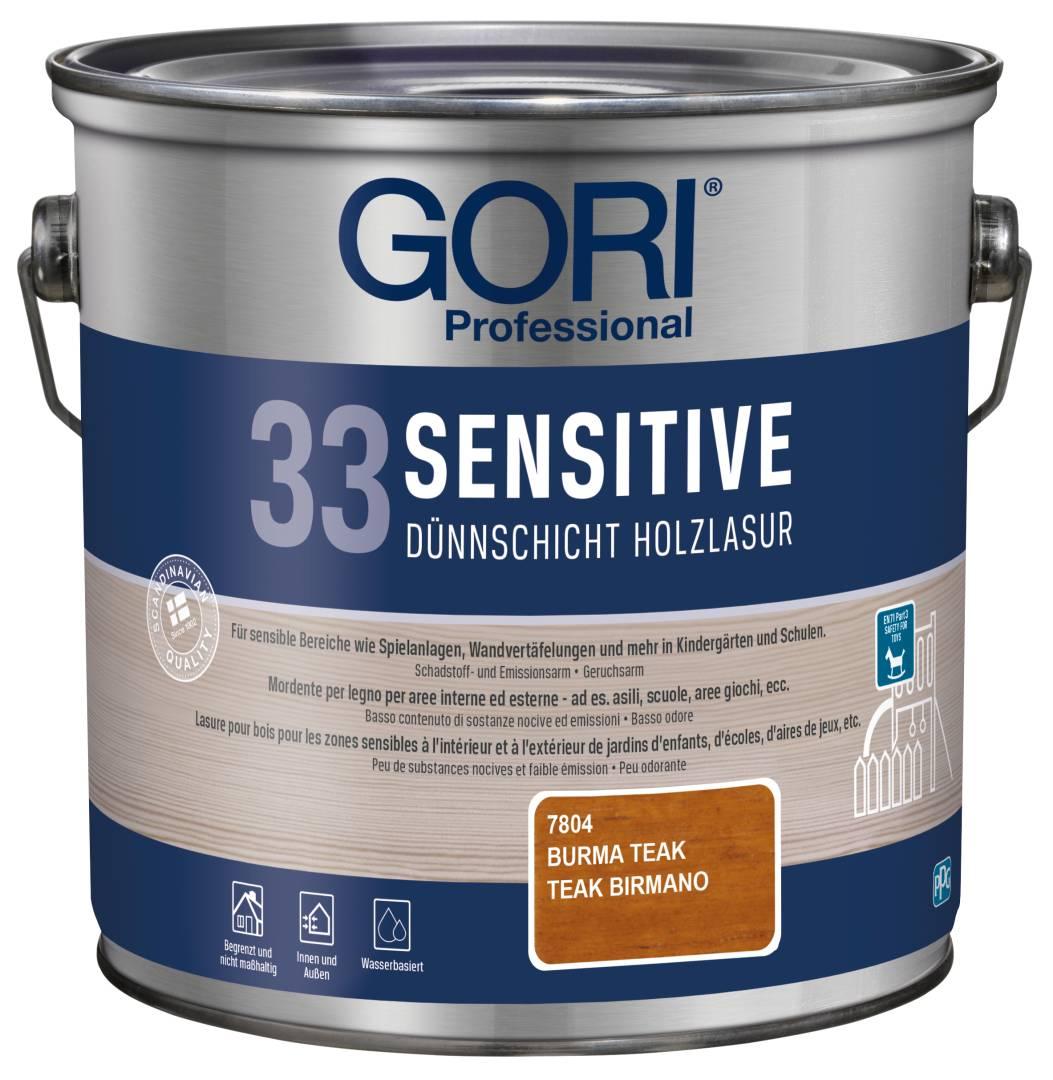 GORI Professional 33 SENSITIVE, Dünnschicht-Holzlasur, burma teak, 2,5 l