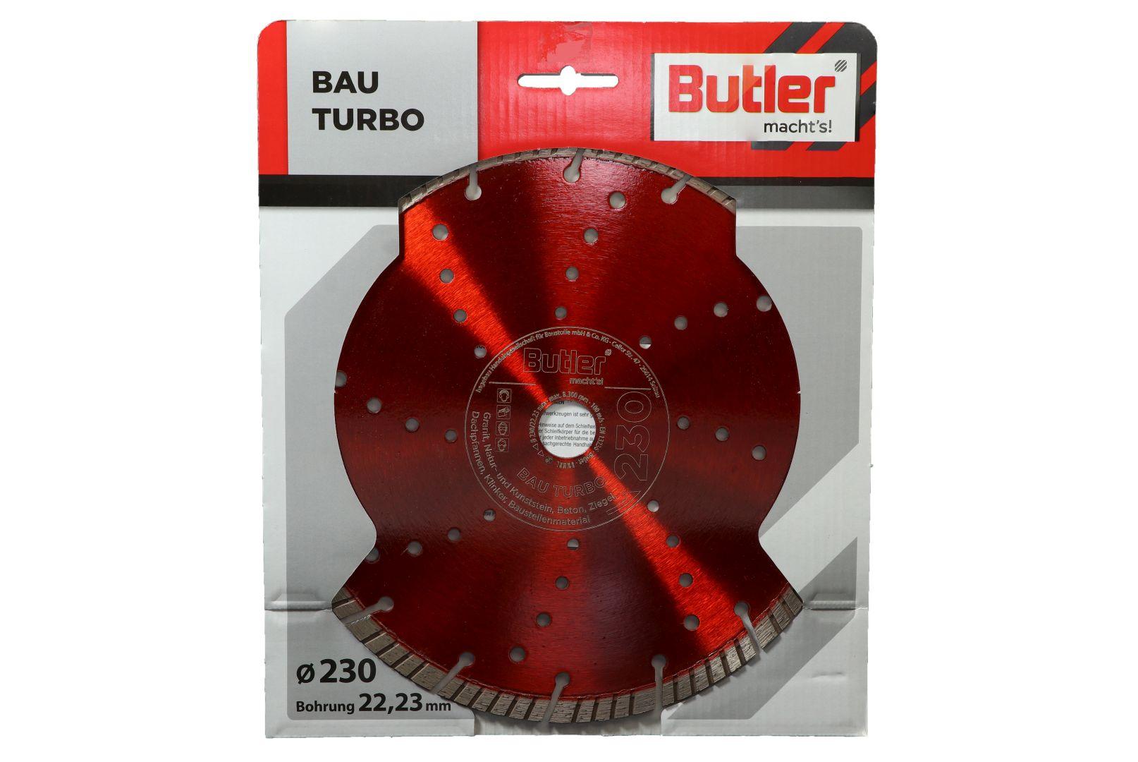 Butler macht's! Diamant-Trennscheibe Bau Turbo, Bohrung: 22,23 mm, Ø 230 mm