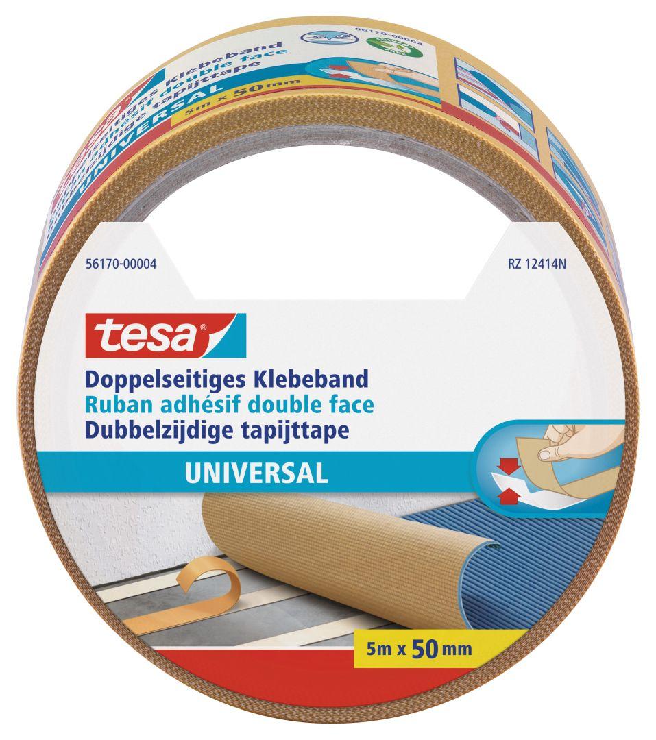 tesa universal, doppelseitiges Klebeband, von Hand einreißbar, 5 m x 50 mm
