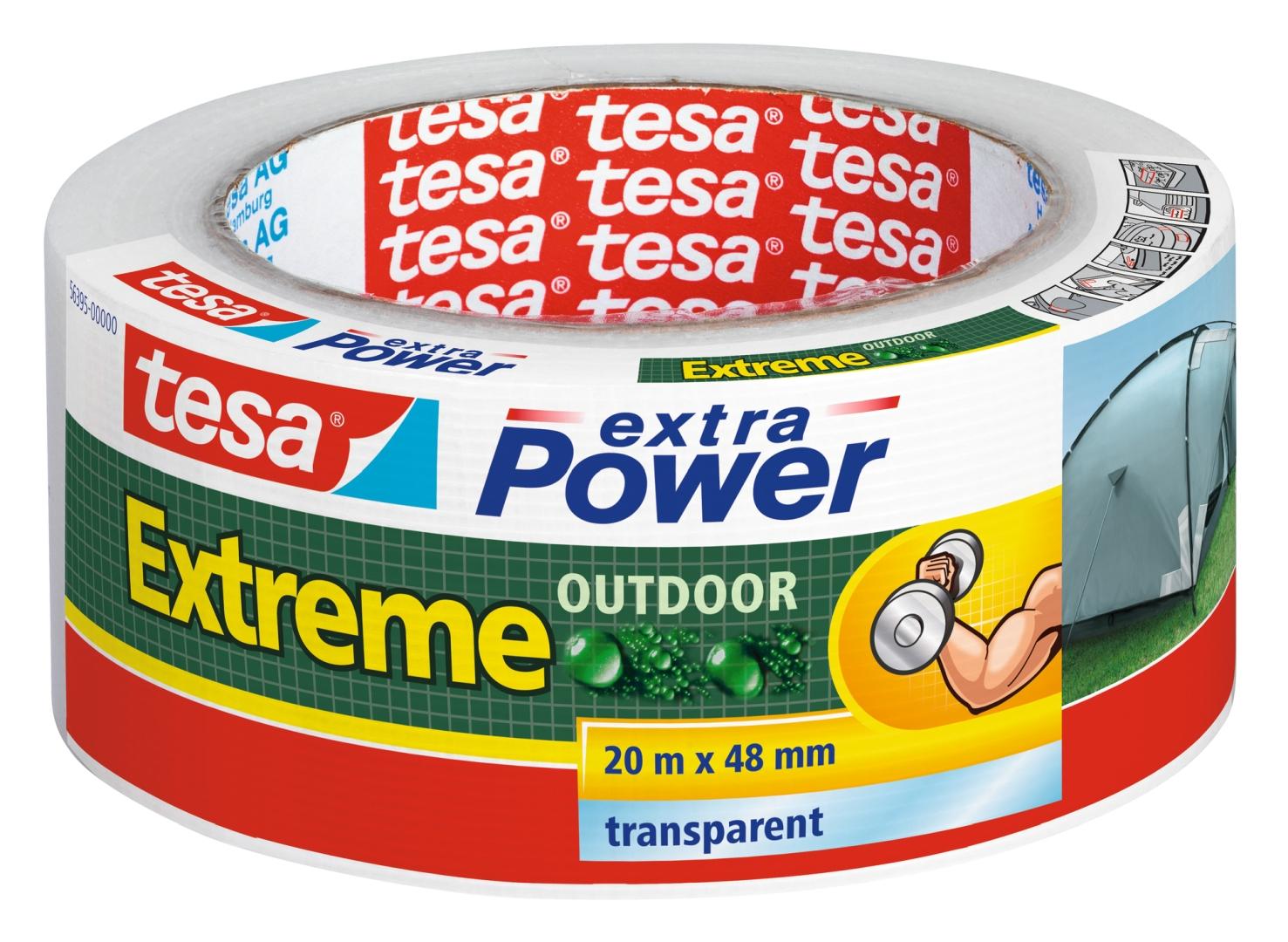 tesa Reparaturband, Klebeband, speziell für Außen, transparent, lösungsmittelfrei, 20 m x 48 mm