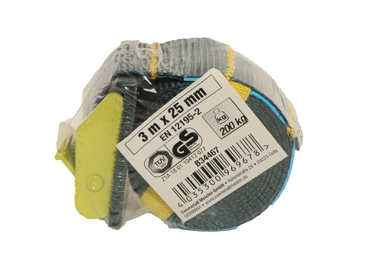 CONNEX Mini-Zurrgurt, 3 m x 25 mm, bis 200 kg, gelb