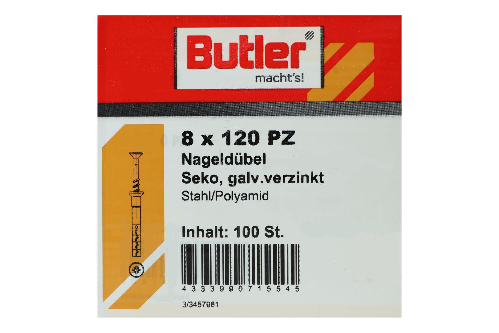 Butler macht's! Nageldübel, Stahl / Polyamid, Senkkopf, galvanisch verzinkt 8 x 120 mm, 100 Stück
