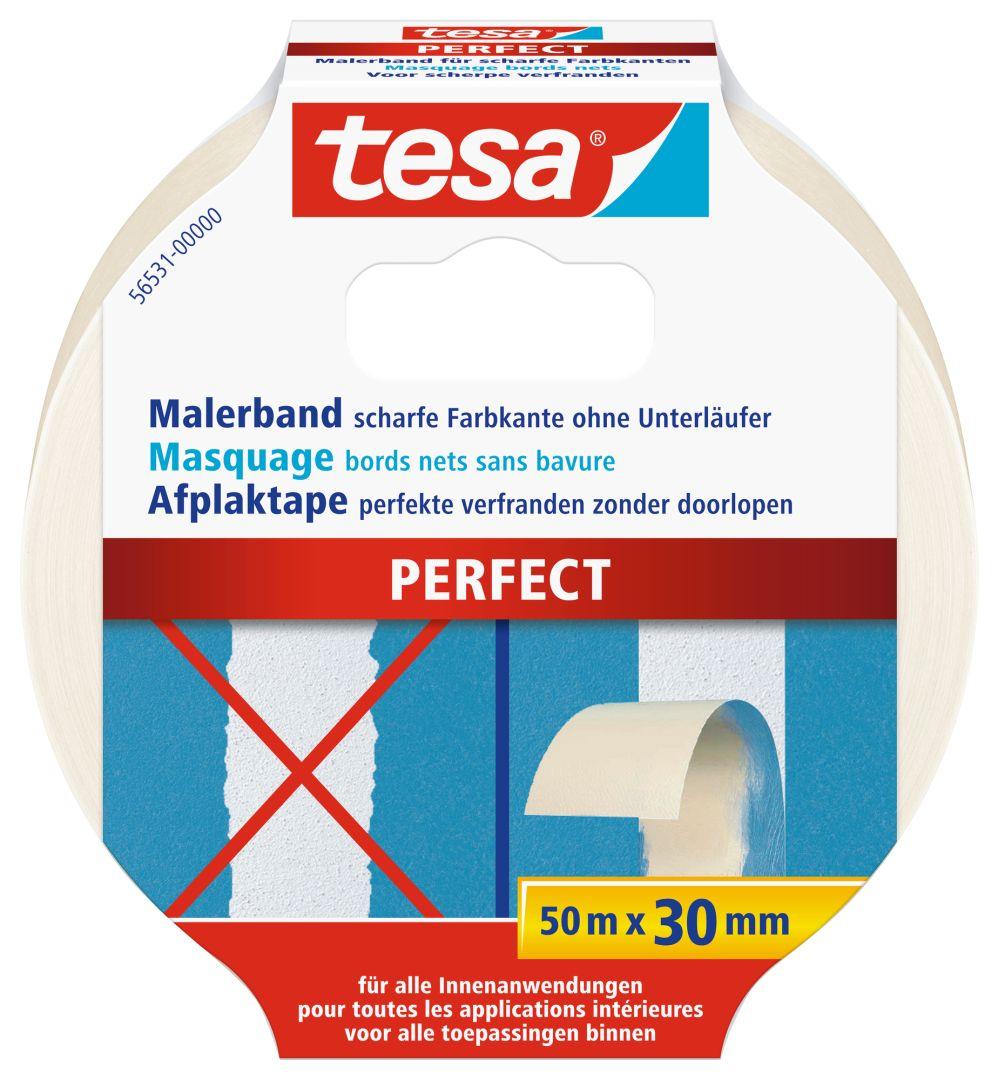 tesa PERFECT Malerkrepp, für scharfe Farbkanten, lösungsmittelfei, sehr reißfest, 50 m x 30 mm