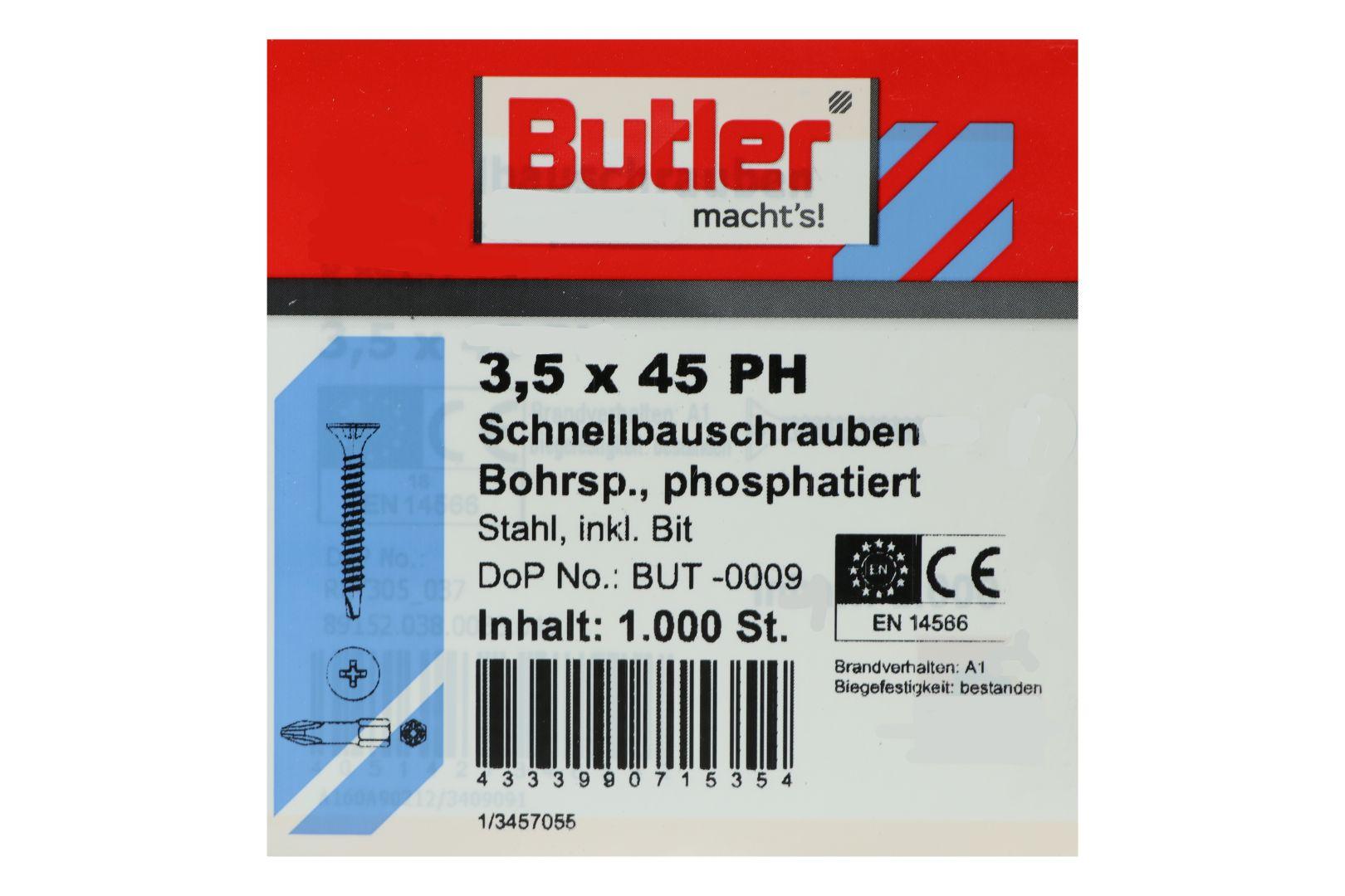 Butler macht's! Schnellbauschrauben inkl. Bit für Gipsplatten auf Metall 0,6 bis 2 mm, Bohrspitze, Feingewinde, PH2, 3,5 x 45 mm, 1.000 Stück
