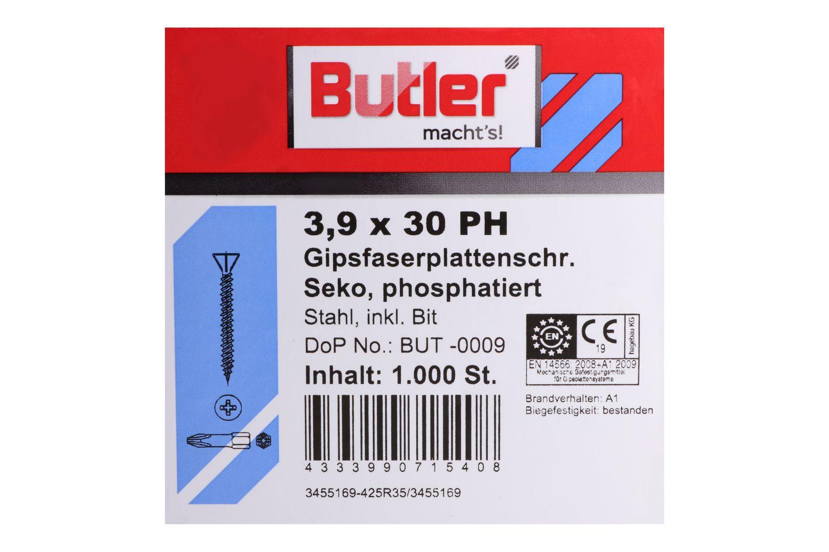 Butler macht's! Schnellbauschrauben inkl. Bit für Faserplatten auf Holz und Metall bis 0,6 mm, HiLo-Gewinde, PH2, 3,9 x 30 mm, 1.000 Stück