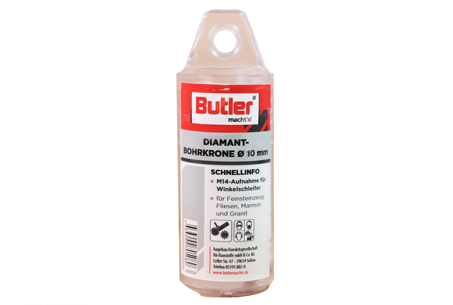 Butler macht's! Diamant-Bohrkrone, Ø 10 mm, Aufnahme M14, Bohrtiefe 35 mm