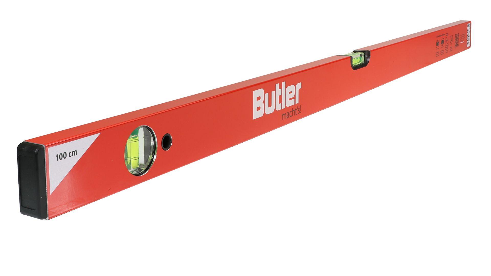 Butler macht's! Wasserwaage aus Leichtmetall, eine horizontale, eine vertikale Libelle, Länge 100 cm