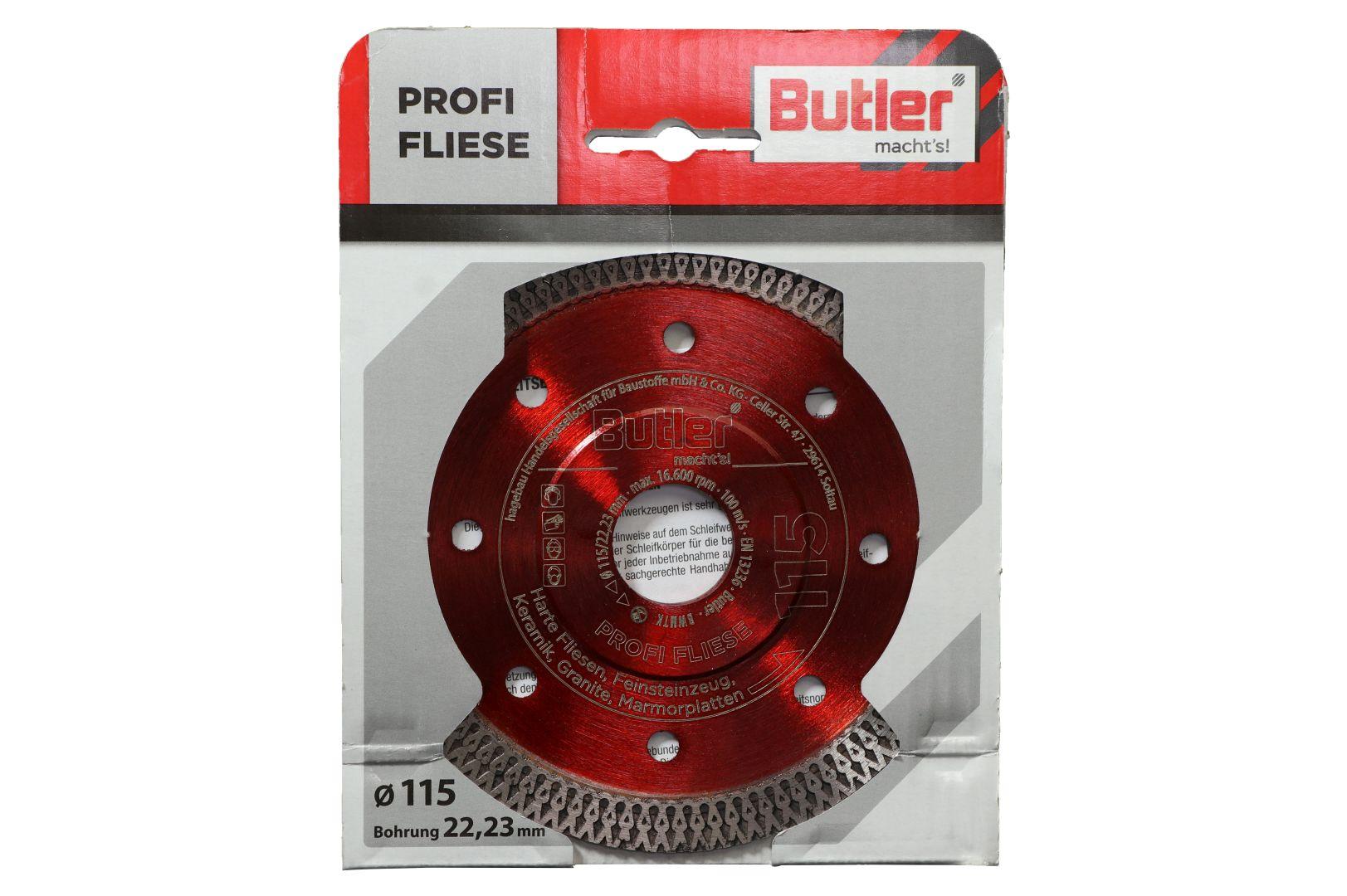 Butler macht's! Diamant-Trennscheibe Profi Fliese, Bohrung: 22,23 mm, Ø 115 mm