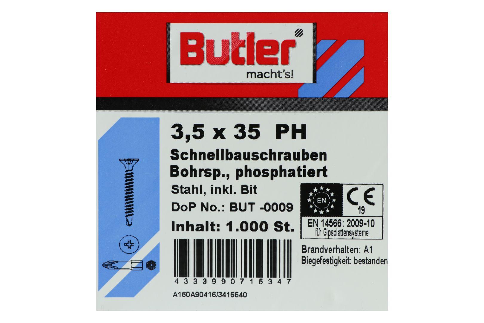 Butler macht's! Schnellbauschrauben inkl. Bit für Gipsplatten auf Metall 0,6 bis 2 mm, Bohrspitze, Feingewinde, PH2, 3,5 x 35 mm, 1.000 Stück