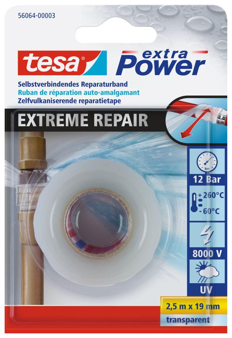tesa Reparaturband, Extreme Repair, transparent, selbstverschweißend, wasserdicht, 2,5 m x 19 mm