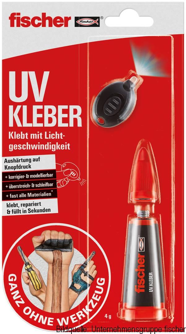 fischer UV KLEBER, inkl. UV Lampe, klebt mit Lichtgeschwindigkeit, tranparent, 4 g