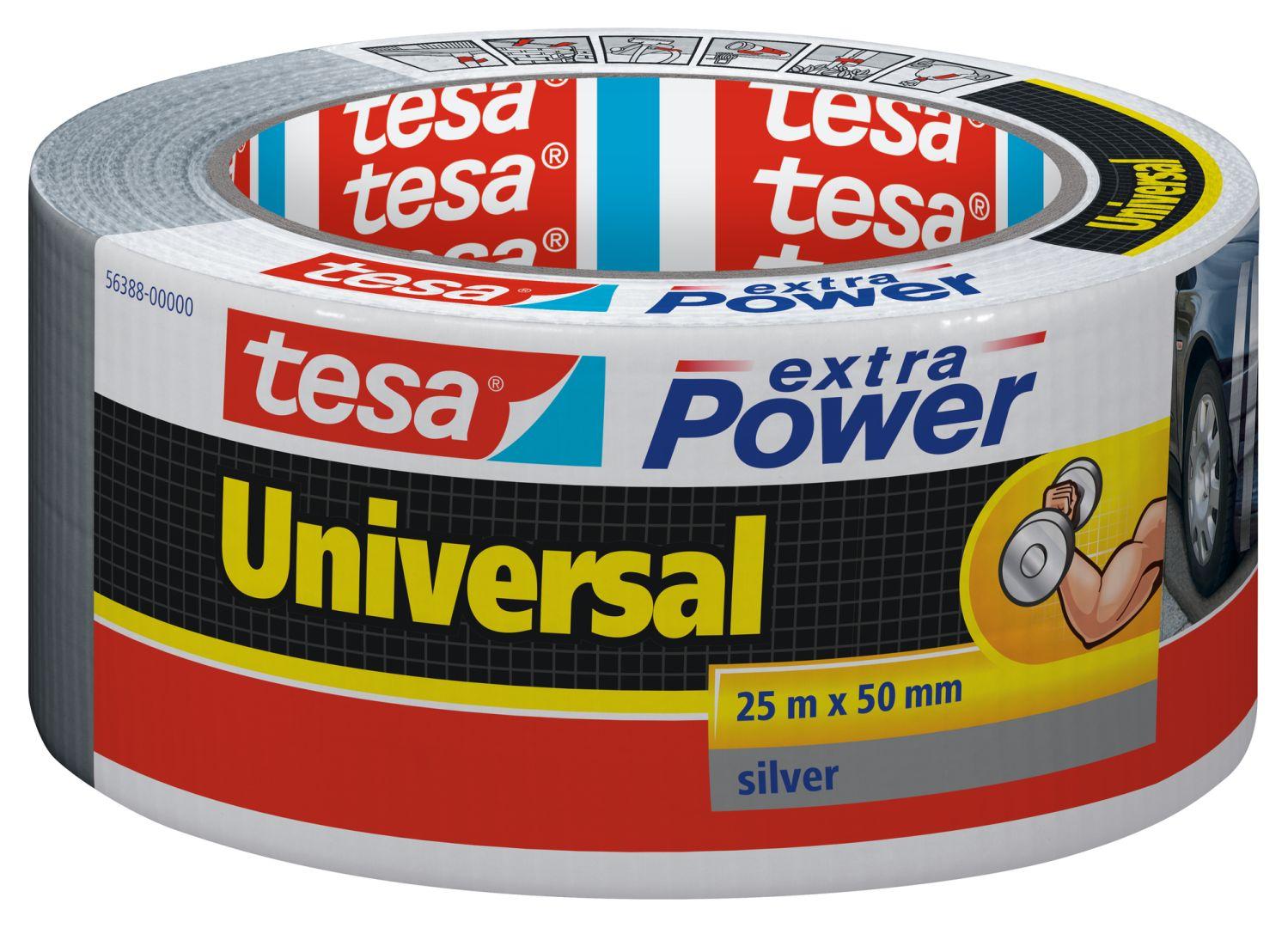 tesa extra Power universal, von Hand einreißbar, hohe Wetterfestigkeit, schwarz, 25 m x 50 mm