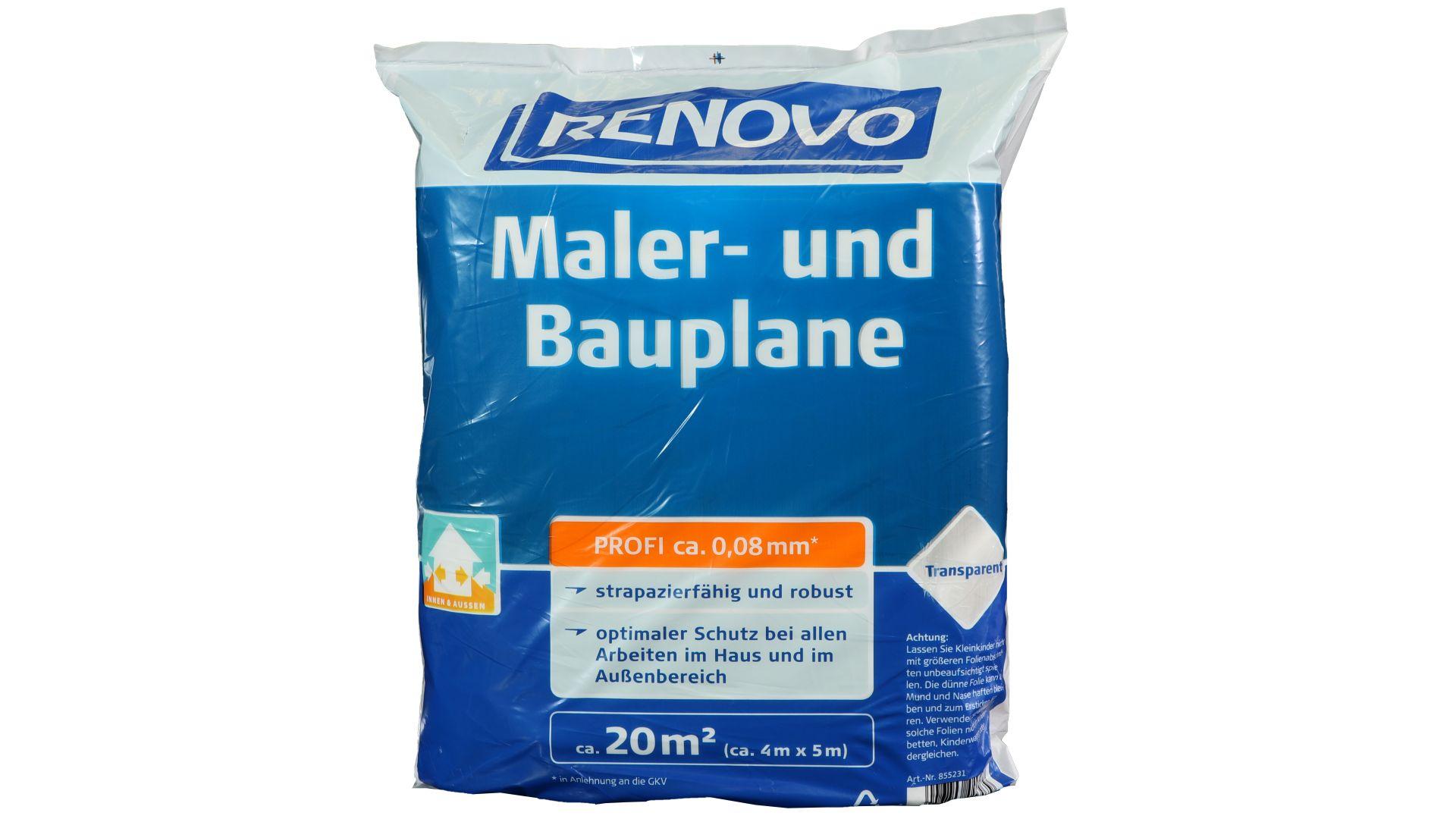 RENOVO Maler- und Bauplane Profi, transparent, 5 x 4 m x 80 µm