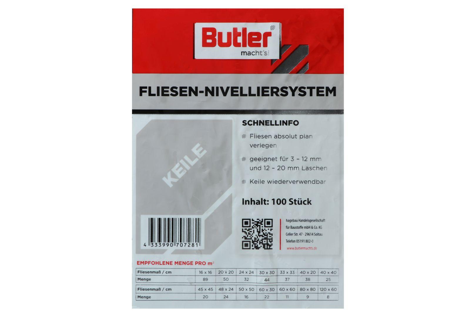 Butler macht's! Fliesen-Nivelliersystem Keile, 100 Stück