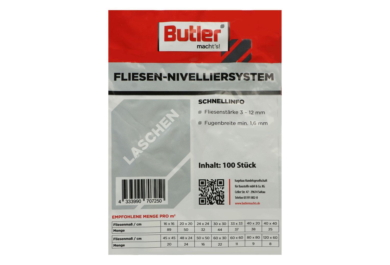 Butler macht's! Fliesen-Nivelliersystem Laschen, für 1,6 mm Fugenbreite, 100 Stück